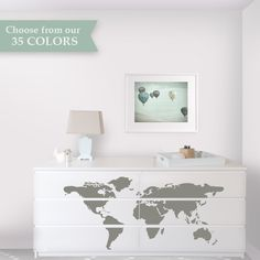 Map Dresser Makeover - Dresser Decals designed to fit Malm Ikea Dresser - Ikea Hack - Travel Theme Nursery by Lulukuku on Etsy https://www.etsy.com/listing/228227846/map-dresser-makeover-dresser-decals