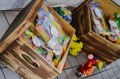 Tema Brinquedos: Caixas com as lembrancinhas