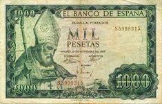 Spanish Mil Pesetas bill from the Money For Nothing, Nostalgia, Money Notes, Valuable Coins, World Coins, Postage Stamps, Retro Vintage, Vintage World Maps, Banknote