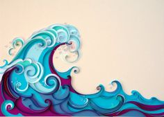 I LOVE the layers and shades of blues (and purple) and the curling round quality of the waves! Waves and clouds have a lot in common design wise... ~DJ