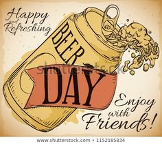 Retro poster in hand drawn style with a opened beer can with delicious froth and a decorative ribbon to celebrate Beer Day. Beer Day, Booklet Design, Hand Drawn, How To Draw Hands, Royalty Free Stock Photos, Ribbon, Retro, Illustration, Poster