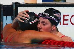 Missy Franklin (R) of the USA celebrates with Elizabeth Pelton of the USA after the Swimming Women's Backstroke 200m Final on day fifteen of the 15th FINA World Championships at Palau Sant Jordi on August 3, 2013 in Barcelona, Spain.