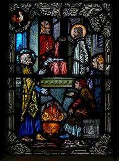 Peter's Denial (All Saints Church, Bedworth, Warwickshire, England) Harry Clarke, St Peter And Paul, All Saints, Denial, Stained Glass Windows, Catholic, Medieval, Victorian, Illustration