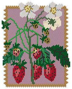 Strawberries by Sigrid Wynne-Evans Pony Bead Patterns, Peyote Patterns, Flower Patterns, Beading Patterns, Stitch Patterns, Beaded Banners, Pouch Pattern, Beaded Crafts, Peyote Beading