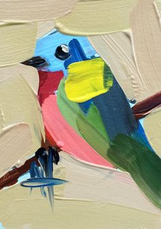 Painted Bunting no. 22 original bird oil painting Angela Moulton ACEO Art #Impressionism