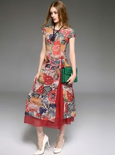 Shop for high quality Vintage Print Improved Cheongsam Dress online at cheap prices and discover fashion at Ezpopsy.com