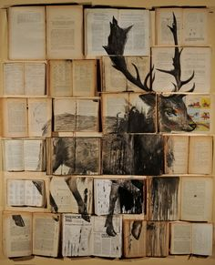 Russian artist Ekaterina Panikanova places old books and other documents together and paints over them to create the most beautiful installations.