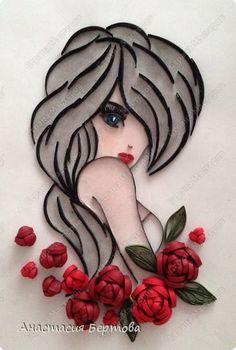 Картина панно рисунок Квиллинг Девушки бывают разные Бумажные полосы фото 8