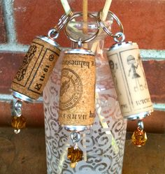 Wine Cork Keychains with stacked washers and eye screws by Artful Panoply