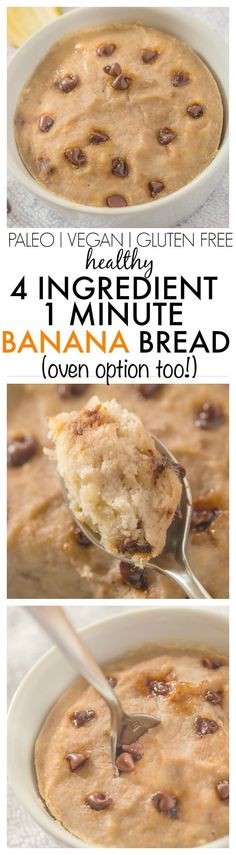 Healthy 1 Minute Banana Bread using 4 ingredients and SO moist gooey yet tender on the outside- It has NO butter oil sugar or white flour!- There is an oven option too! Mug Recipes, Paleo Recipes, Whole Food Recipes, Cooking Recipes, Free Recipes, Recipies, Snacks Recipes, Paleo Dessert, Gluten Free Desserts