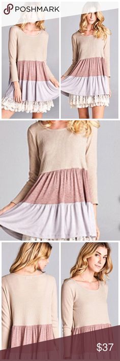Pink taupe cream color block dress