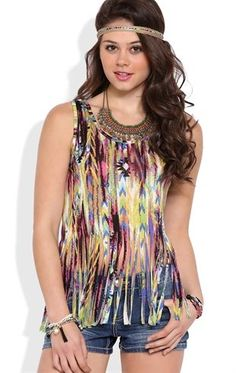 Deb Shops Abstract tribal print fringe tank $9.75