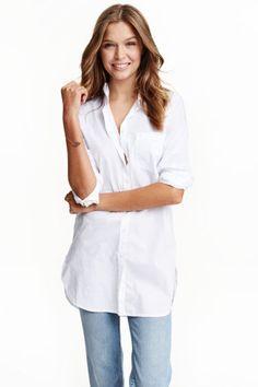 Długa koszula z bawełny   H&M