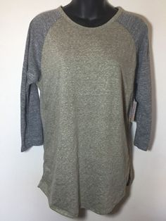 NWT LuLaRoe Randy Heather Gray Green Medium Baseball ¾ Sleeve Cotton T Shirt #LuLaRoe #baseball