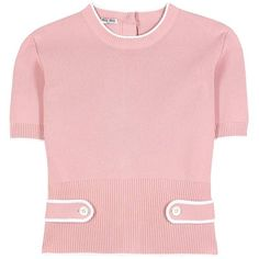 Miu Miu Knitted Top (2.980 BRL) ❤ liked on Polyvore featuring tops, pink, miu miu, miu miu top and pink top
