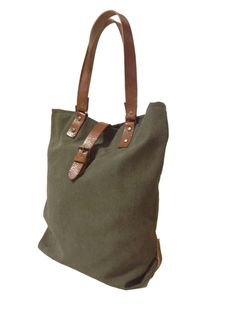 Green Olive Tote/Shoulder Strap Leather / Tote Bag de 13sferas Designs por DaWanda.com