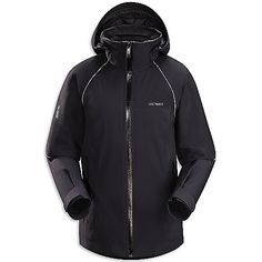 Arcteryx Women's Volta Jacket FEATURES: GORE-TEX Pro Shell Shell Stretch provides durable protection with extended movement Sleek feminine styling Detachable hood and powder skirt gives more style/user options Forearm pass pocket Powder guard vents prevent snow entry - aids breath ability Recco reflector