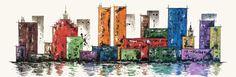 Gemälde in Acryl auf einer 120x 40x 3cm Leinwand. Farbenfrohe,zeitgenössische Gestaltung mit einzigartigen Farbkombinationen im Mixed-Media-Style.Die Gebäude wurden mit Briefmarken des jeweiligen Farbtons erstellt. Die Ränder sind weiß. Hochwertiges, handgefertigtes Unikat, signiert vom Künstler und behandelt mit glänzendem Gemäldefirnis.  http://www.tomglasauer.de/visual-artist/skyline-4/ #Palettenmesser #PaletteKnife #Gemälde #Kunst #Bild #abstrakt #modern  von…
