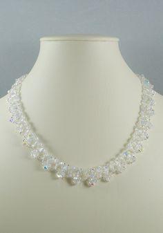 Woven Swarovski Necklace in Crystal AB. $54.00, via Etsy.