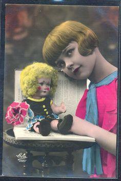 QL116 ART DECO FASHION GIRL DOLL HAIRSTYLE KITSCH Tinted PHOTO pc