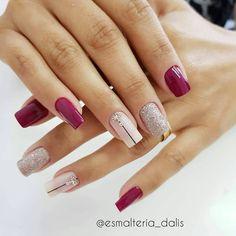 Grey Nail Designs, Fall Nail Art Designs, Bright Red Nails, Short Nails Art, Dry Nails, Manicure And Pedicure, White Nails, Beauty Nails, Pretty Nails