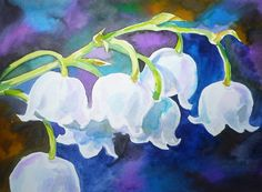 Painting by Akimova Lily of the valley flower white by irinart