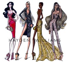 Glam Night Out collection: Ruby Rush, Caviar, Going for Gold & Mocha by Hayden Williams Hayden Williams, Fashion Illustration Sketches, Fashion Design Sketches, Fashion Drawings, Art Illustrations, Outfit Drawings, Art Sketches, Couture Fashion, Fashion Art