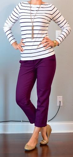 Outfit Posts: outfit post: striped top, purple cropped pants, nude flats--- purple pants Love!
