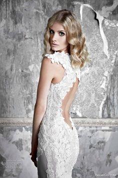 Pallas Couture wedding dresses 2015 | la promesse bridal collection colette french tulle applique wedding dress keyhole back close up