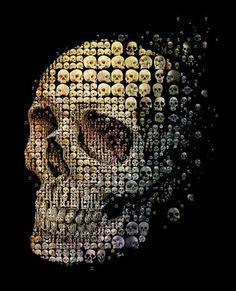 Skull evolution by Charis Tsevis.Mosaic illustration of a human skull for May 2011 cover of Discover magazine.Courtesy of Charis Tsevis and Discover Magazine. Vanitas, Memento Mori, Catrina Tattoo, Mosaic Portrait, Arte Sketchbook, Arte Horror, Human Skull, Skull And Bones, Pics Art