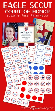 Eagle Scout Court of Honor Ideas and Free Printables including decorations, invitations and program cover template. Take the guesswork out of your son& Eagle Scout Court of Honor. Scout Mom, Cub Scouts, Girl Scouts, Eagle Scout Badge, Scout Badges, Eagle Scout Project Ideas, Eagle Scout Ceremony, Scouts Of America, Scout Camping