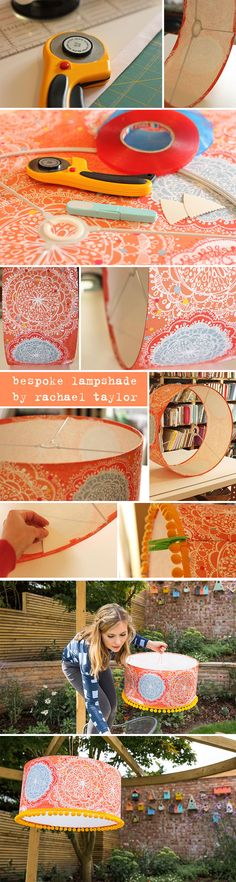Bespoke 'Orange Bohemian' lampshade project | Pattern design by Rachael Taylor | Lampshade made by Lampshade Parade | Photography by Kimmy from Struth Photography