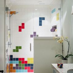 25 Perfect Colorful Bathroom Decor Ideas And Remodel For Summer Project. If you are looking for Colorful Bathroom Decor Ideas And Remodel For Summer Project, You come to the right place. Yellow Bathroom Decor, Bathroom Colors, Colorful Bathroom, Guys Bathroom, Family Bathroom, Bathroom Tile Designs, Bathroom Layout, Ceramic Tile Bathrooms, Bad Inspiration