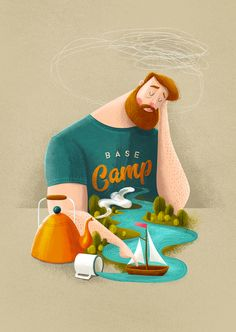 Base Camp Art Print by Seaside Spirit - X-Small Art And Illustration, People Illustration, Illustrations And Posters, Character Illustration, Graphic Design Illustration, Grafik Design, Bunt, Art Prints, Sandpaper