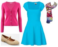 Business Casual Starter Kit Day 28: Bright pink cardigan, turquoise dress, colorful scarf, tan shoes.