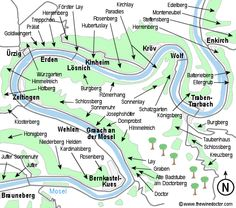 map of the mosel river pointing out the vineyards anlog the banks