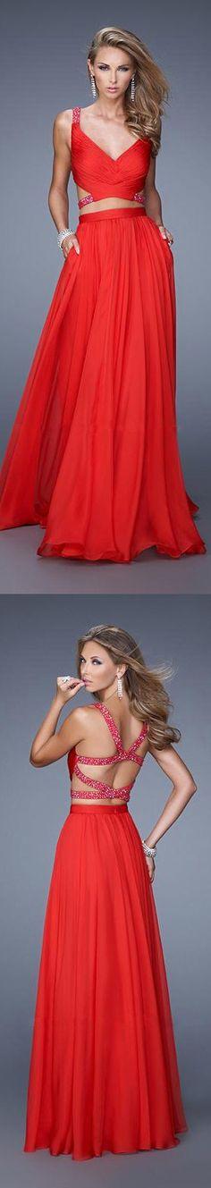Flowy Two Piecev Beaded Red Prom Dress by La Femme 21152
