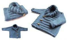 Knitted Baby Jacket crossed in front - Baby Knits - [ EASY Pattern & Tutorial ] Baby Knitting Patterns, Knitting For Kids, Free Knitting, Crochet Baby, Knit Crochet, Knitted Baby, Cardigan Bebe, Pull Bebe, Baby Pullover