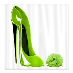 Lime Green stiletto Shoe art and Rose Shower Curtain Custom Shower Curtains, Fabric Shower Curtains, Stiletto Shoes, High Heels Stilettos, Lisa Green, Decoupage Art, Makeup Rooms, Shoe Art