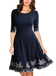 04d1b9a319 Miusol Women s Vintage Scoop Neck Embroidered Half Sleeve Casual Swing Dress  at Amazon Women s Clothing store