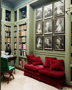 Traditional home Library with medium Jade Green walls and Garnet red couch . Red Couch Living Room, Sage Green Walls, Red Sofa, Red Couches, Red Velvet Sofa, Decoration Inspiration, Workspace Inspiration, Color Inspiration, Home Libraries