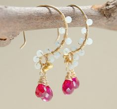 This pretty hot pink drops dangle earrings feature amazonite in mint green beads wire wrapped gold filled ear wire, hot pink stone teardrop dangles