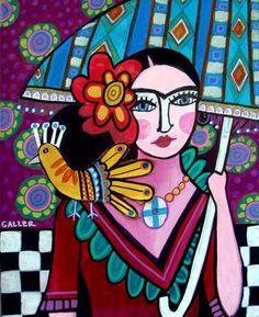 Colorful Mexican Folk Art Frida Kahlo by HeatherGallerArt on Etsy, $24.00