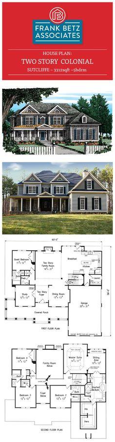 Sutcliffe: 3312sqft 5bdrm two-story Colonial house plan by Frank Betz Associates Inc.