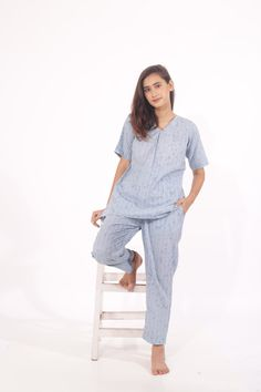 Say no to regular sleepwear or loungewear for women and stock up on the comfiest pieces of the season. Limited Stock Only. Night Suit For Women, Cotton Pyjamas, Long Tops, Old Women, Loungewear, Half Sleeves, Normcore, Suits, Stylish