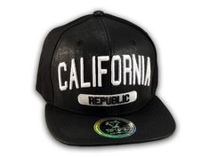 488d265f545 This is a High Quality Brown Leather California Republic Snapback Hat. It  has Embroidered California in on the Front! With Republic underneath and a  ...