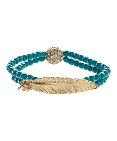 Look at this Goldtone & Turquoise Feather Stretch Bracelet on #zulily today!