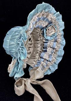 """Antique Reproduction Doll Bonnet 12"""" - 13"""" high brim"""