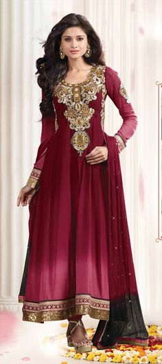 Anarkali Suits, Georgette, Machine Embroidery, Resham, Stone, Patch, Zari, Red and Maroon Color Family
