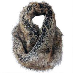 Black Rivet Faux-Fur Loop Scarf